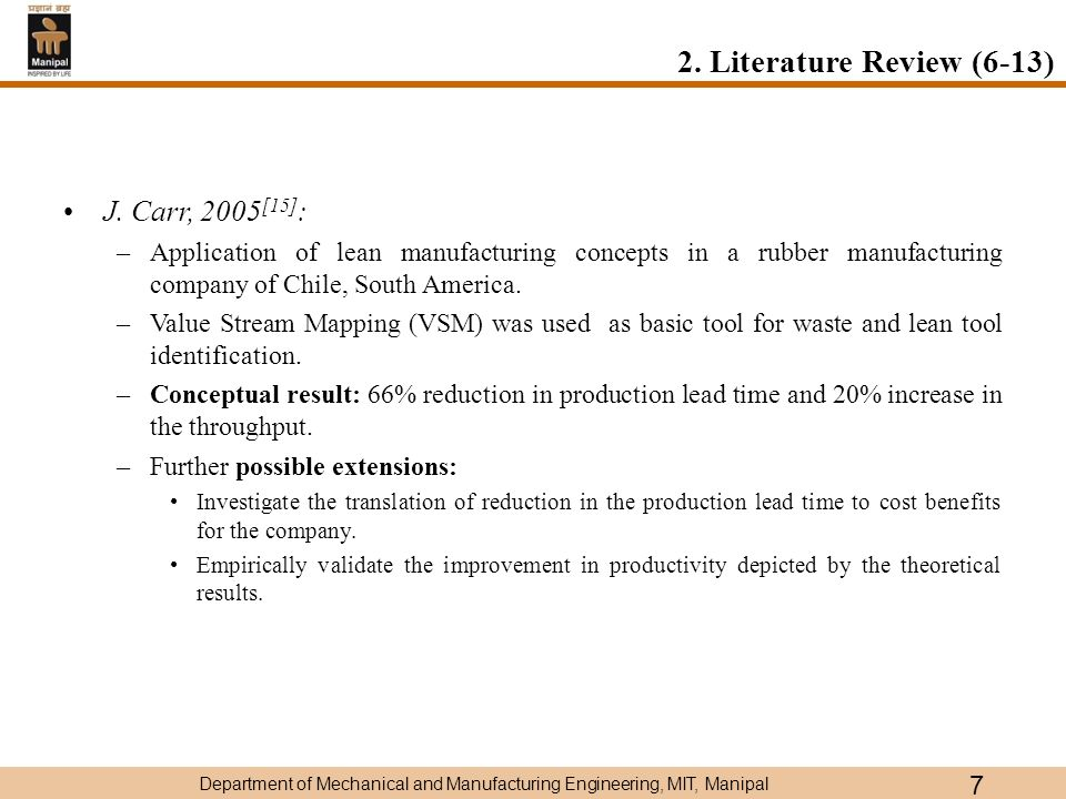 literature review on lean manufacturing pdf